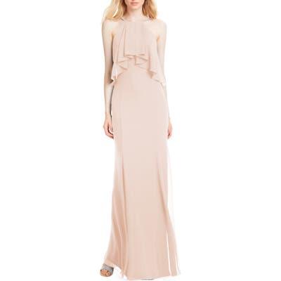 #levkoff Flutter Halter Chiffon A-Line Gown, Pink