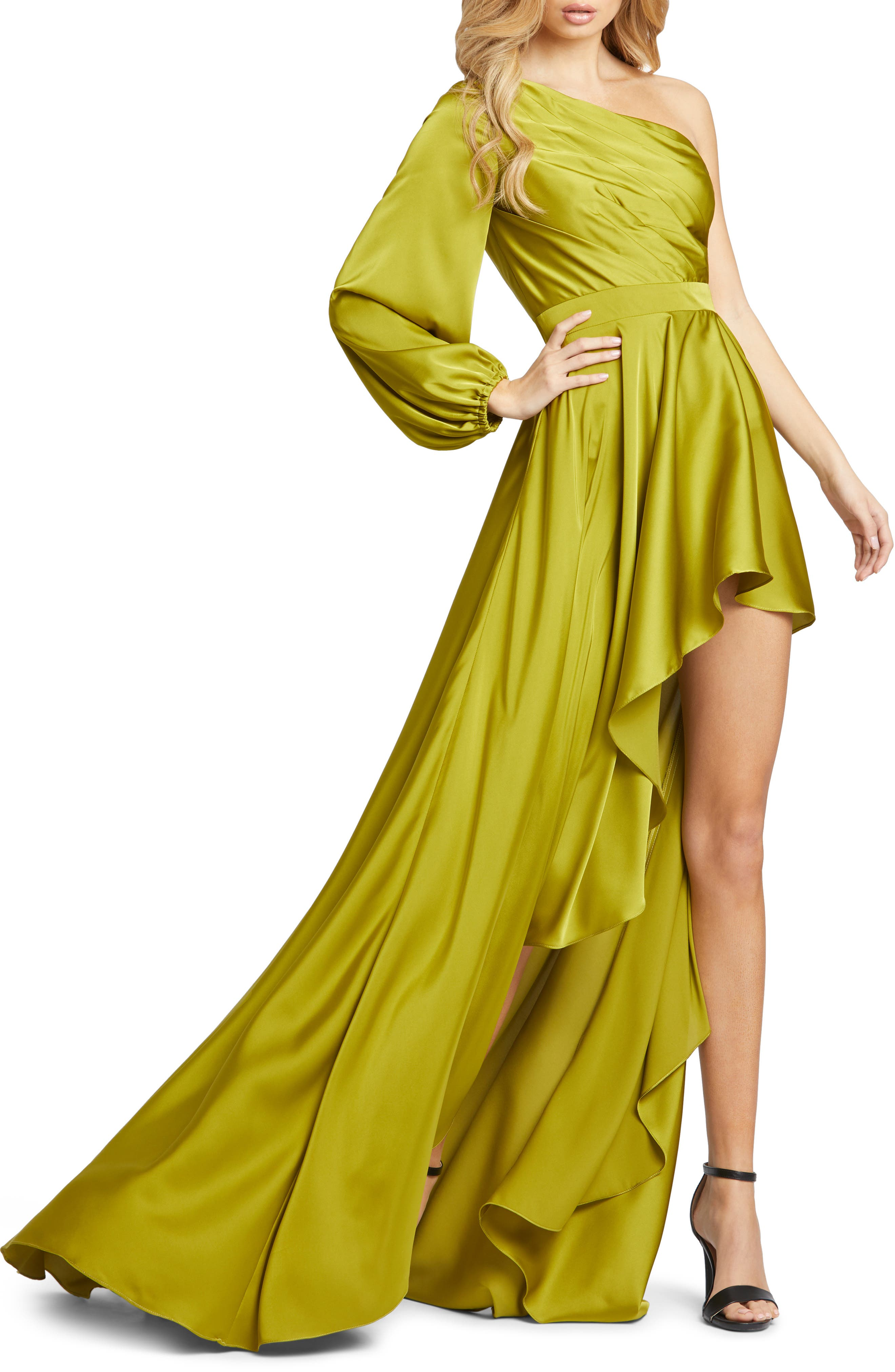 One-Shoulder Long Sleeve Satin High/low Gown