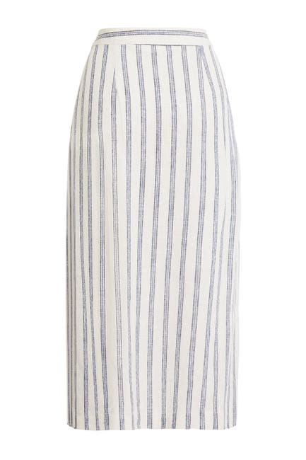 Image of BCBGeneration Stripe Linen Blend Midi Skirt