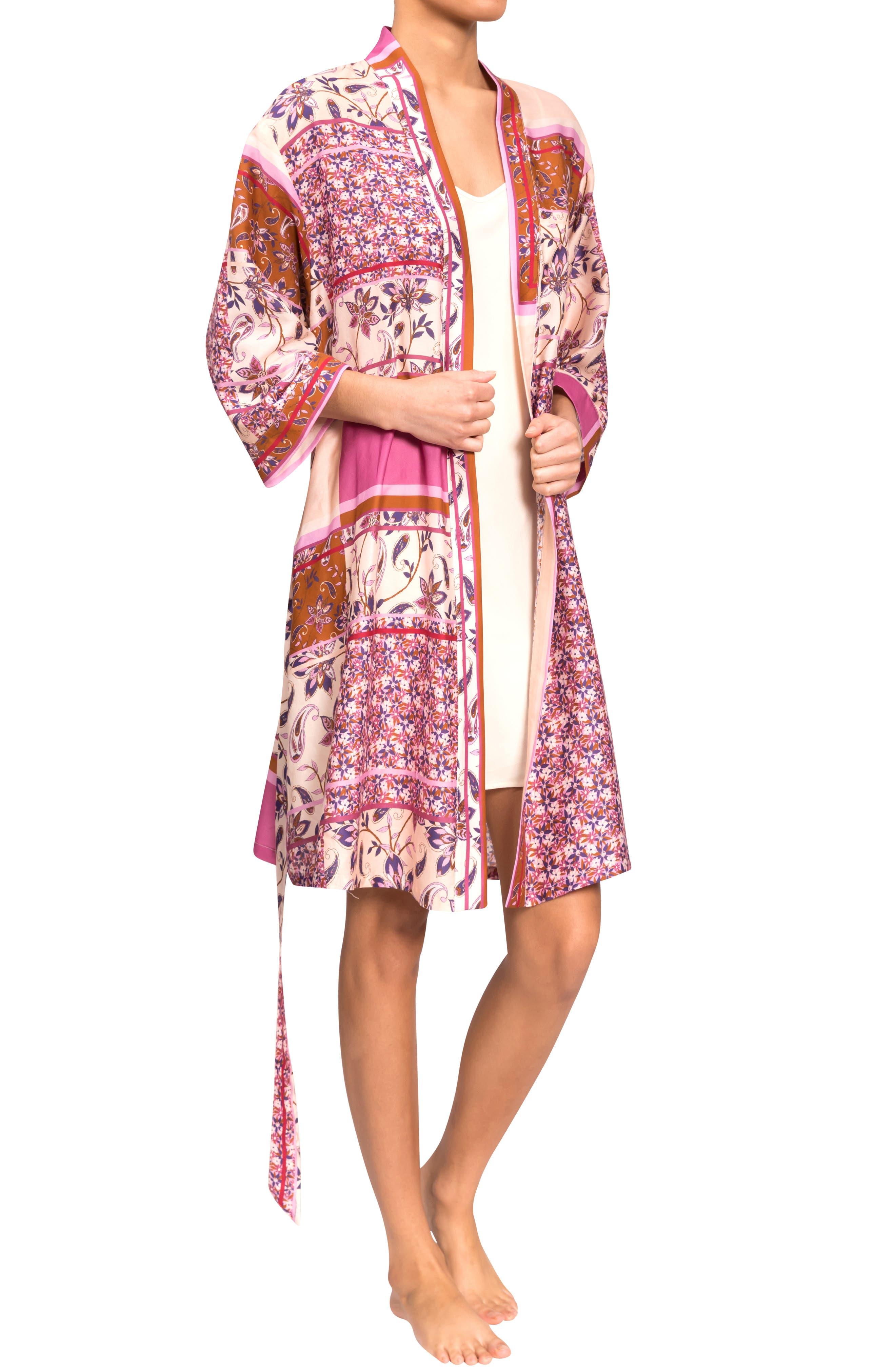 Misty Floral Cotton & Silk Short Robe