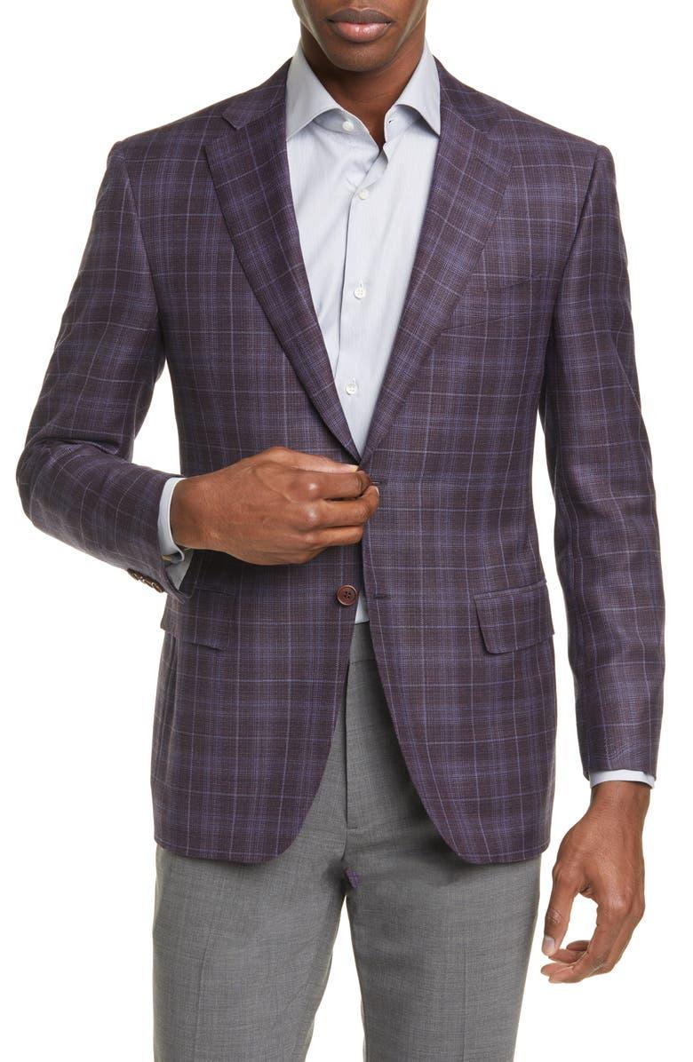 CANALI Siena Soft Classic Fit Plaid Wool Sport Coat, Main, color, BURGUNDY