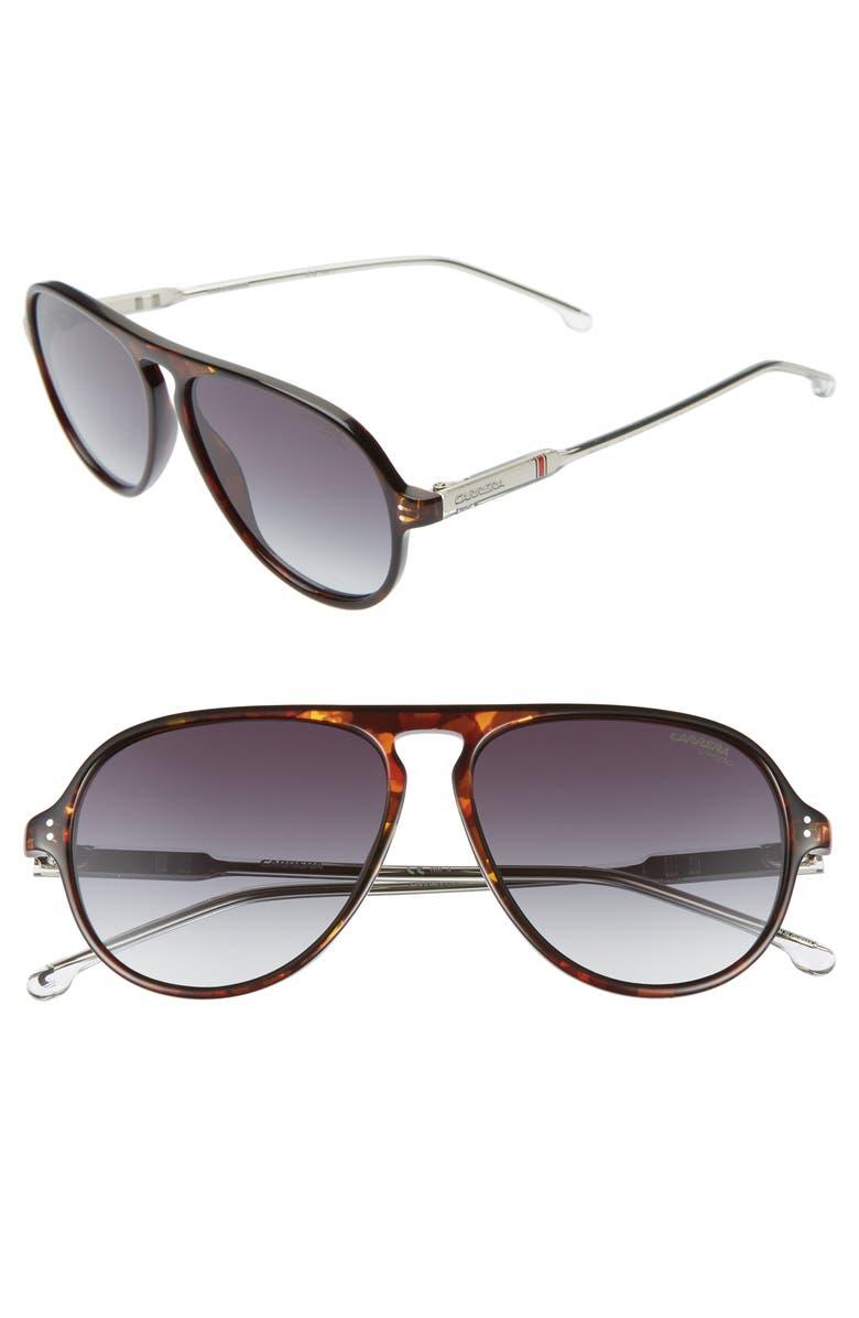 CARRERA EYEWEAR 57mm Aviator Sunglasses, Main, color, DARK HAVANA