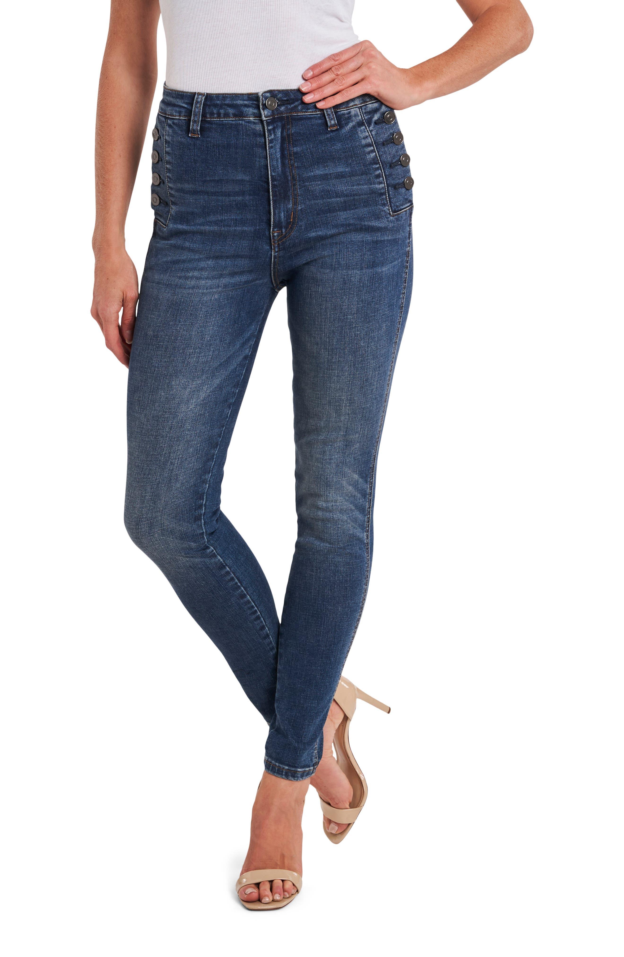 Women's Cece Button Pocket High Waist Jeans