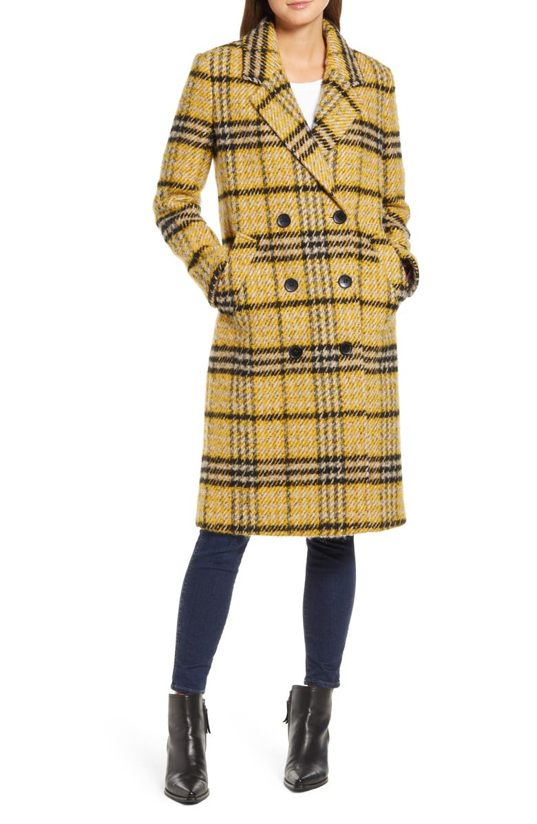 SAM EDELMAN Longline Plaid Coat, Main, color, YELLOW PLAID