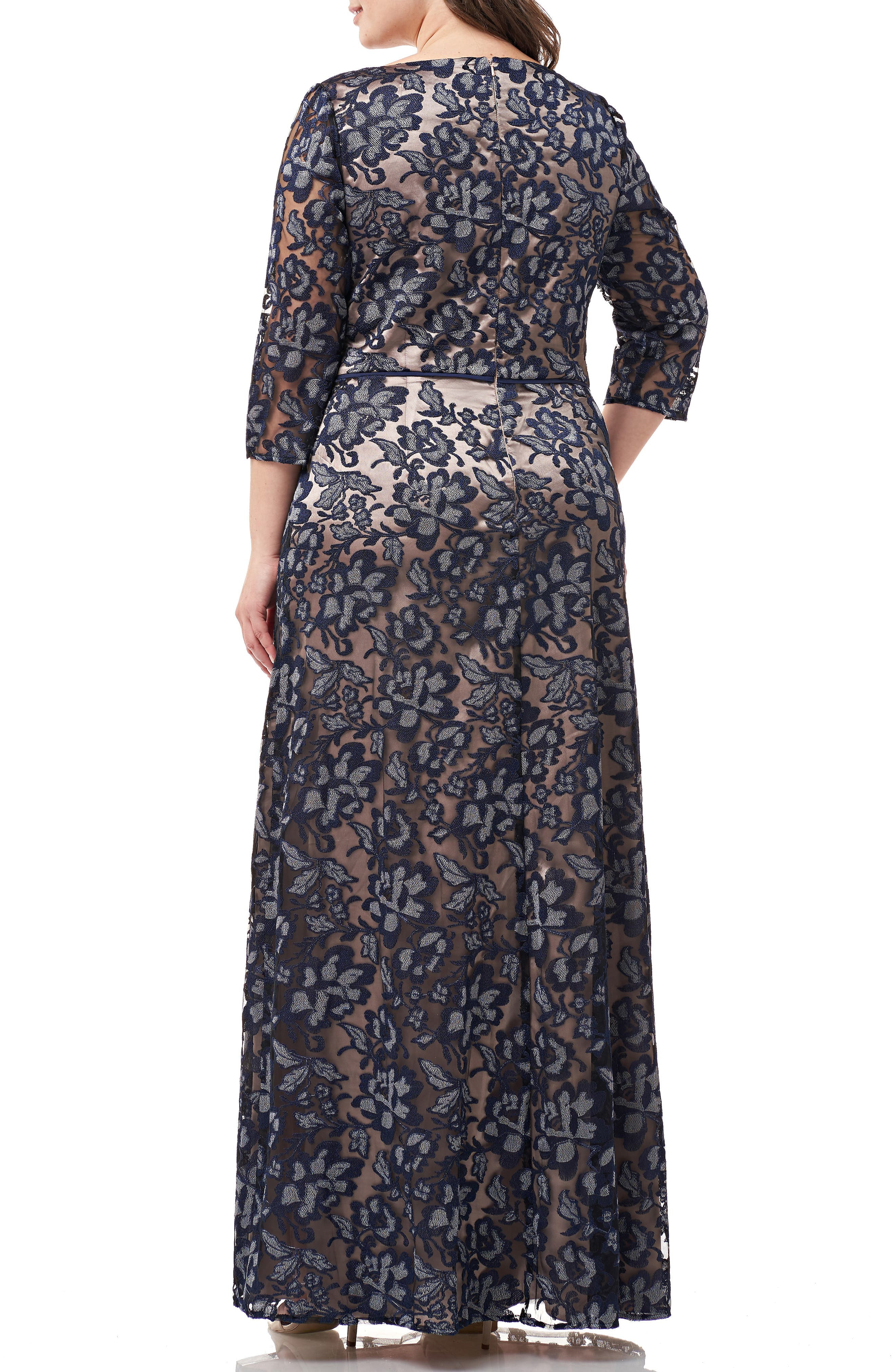,                             Floral Embroidered Mesh Gown,                             Alternate thumbnail 2, color,                             NAVY SILVER