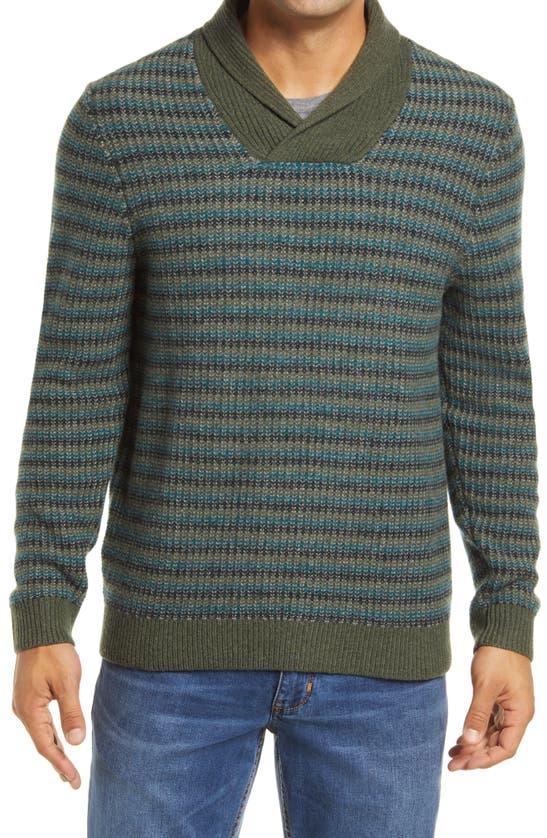 Tommy Bahama Bungalow Beach Shawl Merino Wool Sweater In Beetle Green