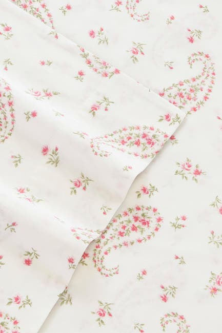 Image of Laura Ashley Bristol Paisley Medium Pink Cotton Sateen King Sheet Set