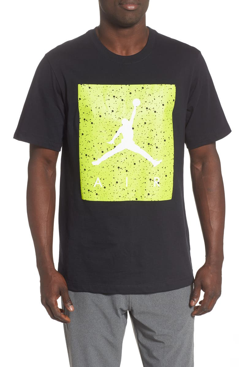 JORDAN Poolside Jumpman Graphic T-Shirt, Main, color, BLACK/ CYBER/ WHITE