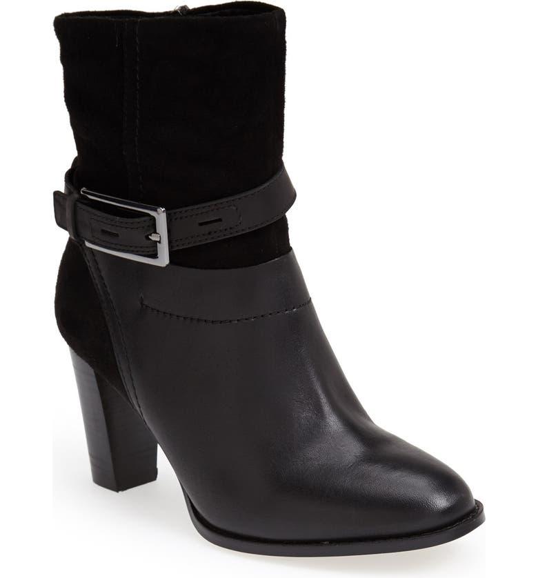 CLARKS<SUP>®</SUP> 'Kacia Garnet' Suede & Leather Bootie, Main, color, 002