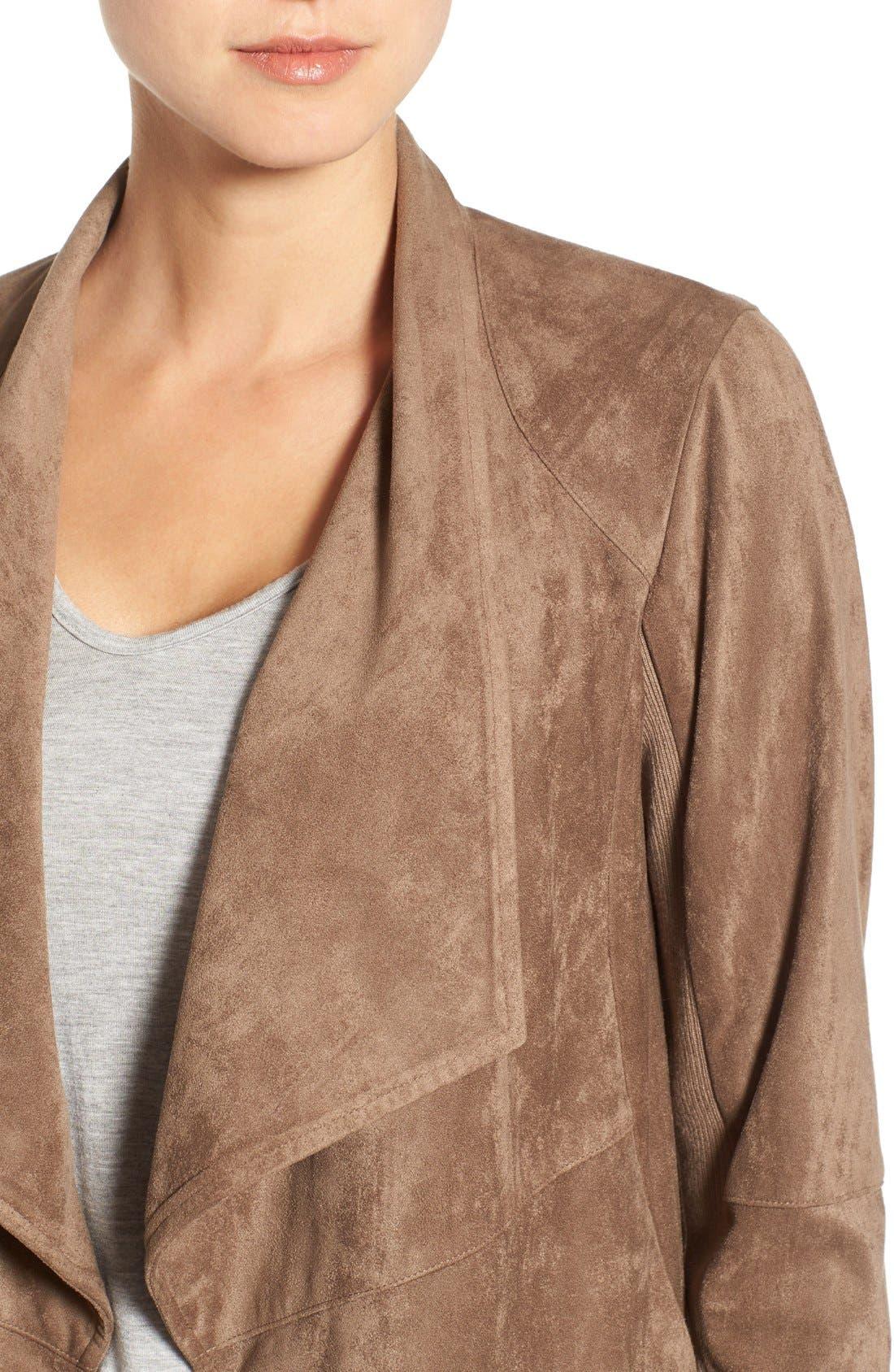 ,                             Nicholson Faux Suede Drape Front Jacket,                             Alternate thumbnail 13, color,                             202