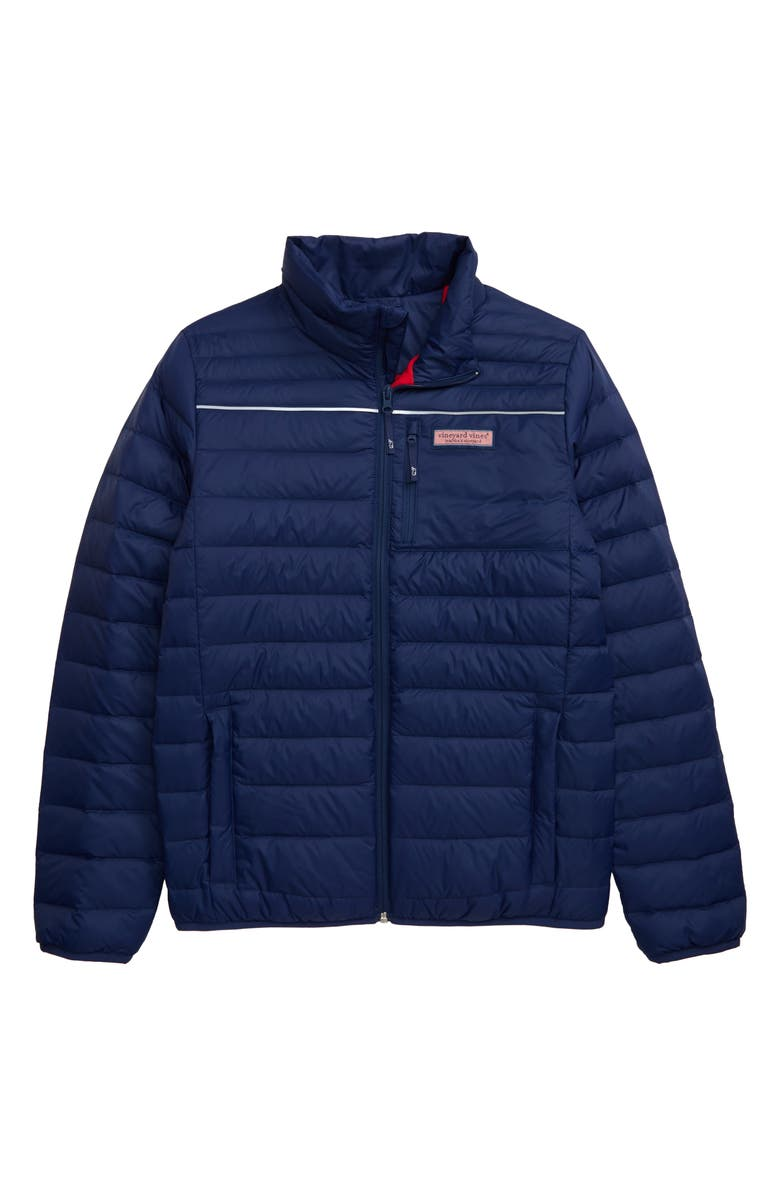 VINEYARD VINES Mountain Weekend Performance Quilted Down Vest, Main, color, DEEP BAY