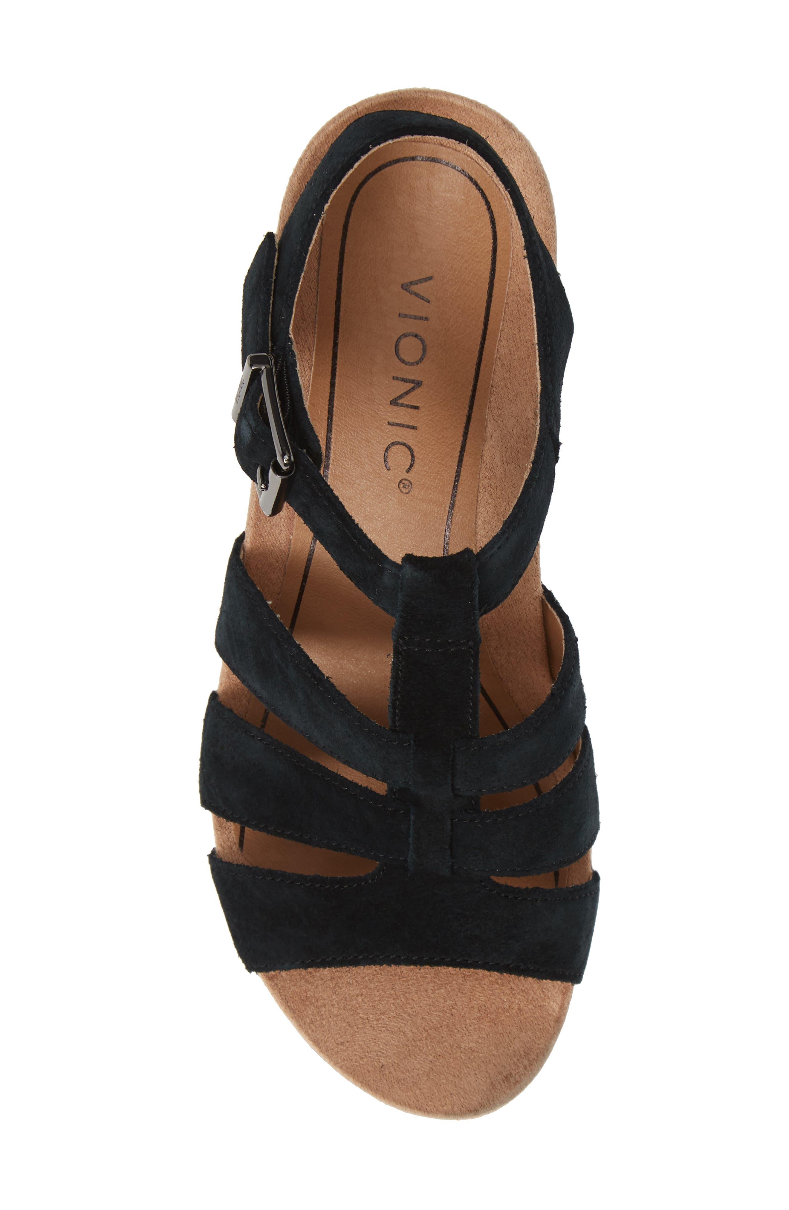 ,                             Tawny Wedge Sandal,                             Alternate thumbnail 5, color,                             BLACK CANVAS