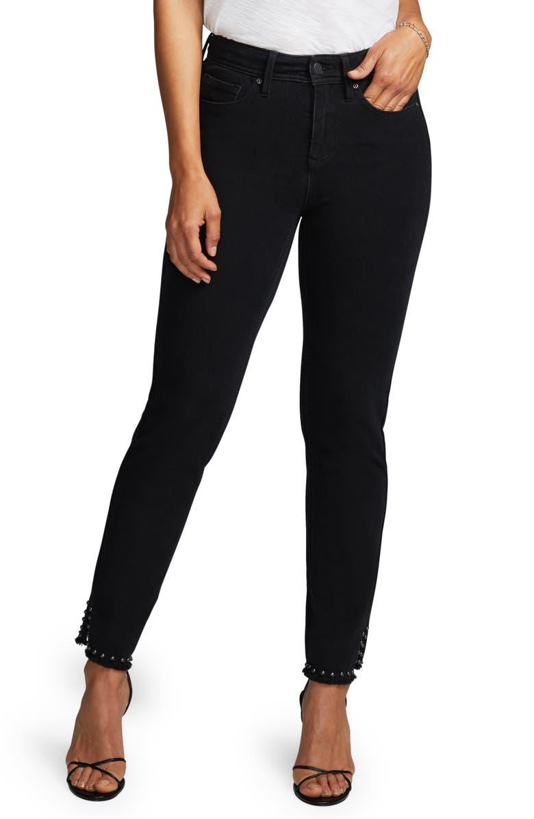 CURVES 360 BY NYDJ Stud Detail Slim Straight Leg Jeans, Main, color, BLACK