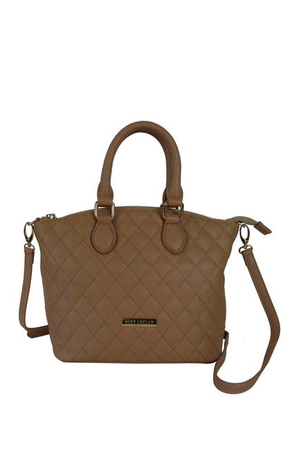 Image of Suzy Levian Faux Leather Quilted Satchel