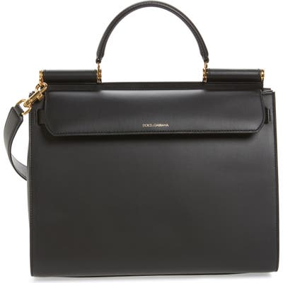 Dolce & gabbana Medium Miss Sicily Calfskin Leather Satchel - Black