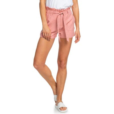 Roxy Chic And Elegance Linen Blend Paperbag Waist Shorts, Pink