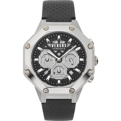Versus Versace Palestro Chronograph Leather Strap Watch, 45mm
