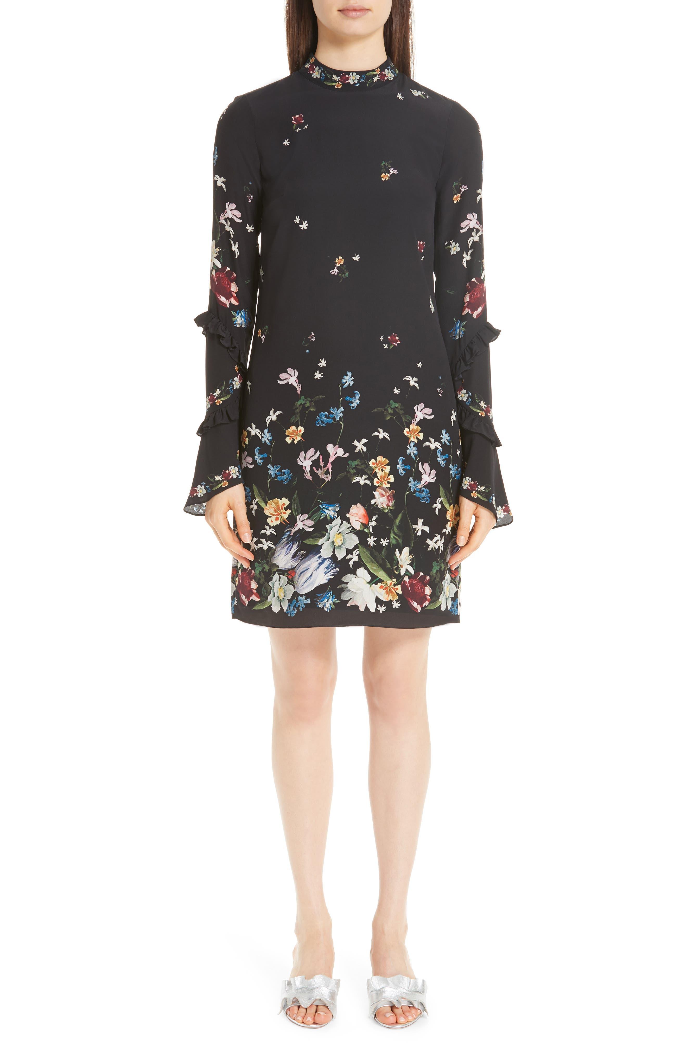 Erdem Floral Silk Crepe De Chine Ruffle Dress