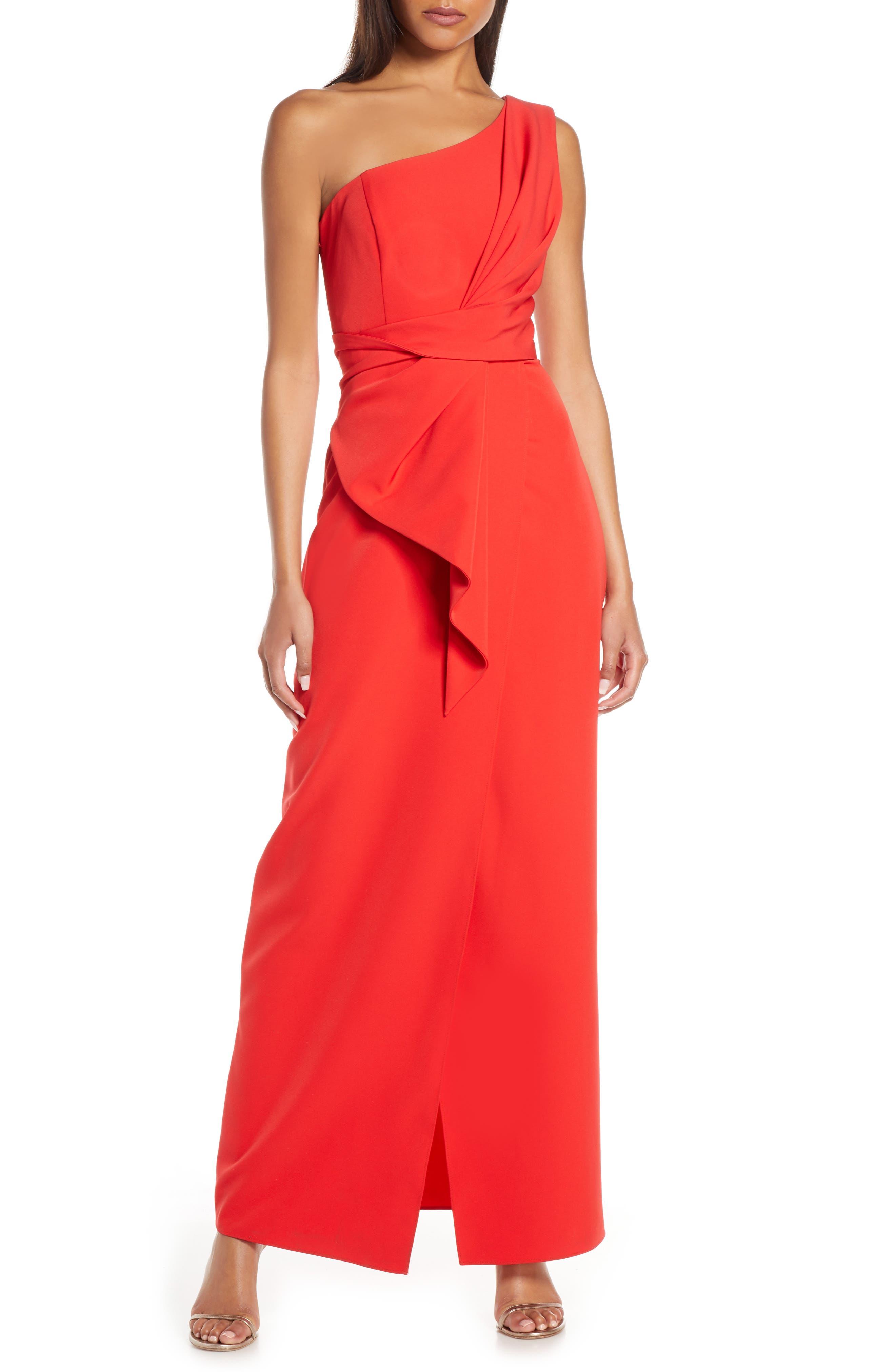 Eliza J One-Shoulder Laguna Crepe Evening Gown, Red