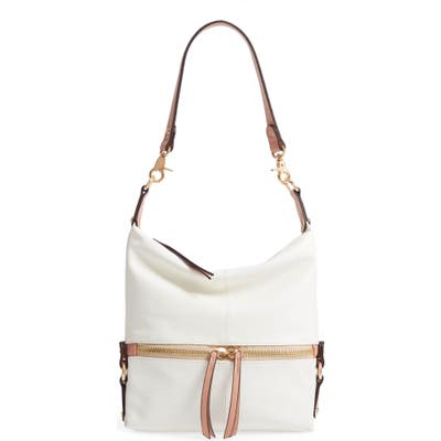 Sondra Roberts Faux Leather Hobo - White