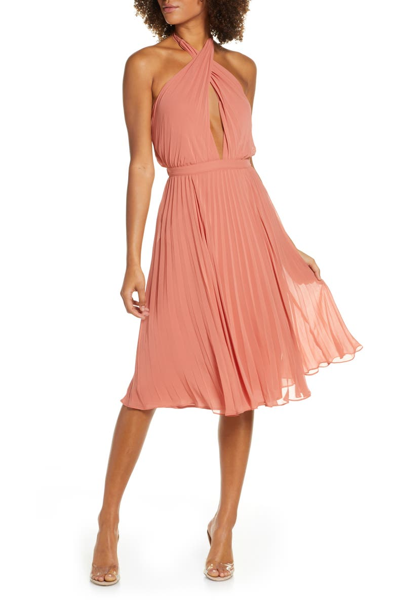 ALI & JAY Soho House Pleated Chiffon Halter Dress, Main, color, DUSTY BLUSH