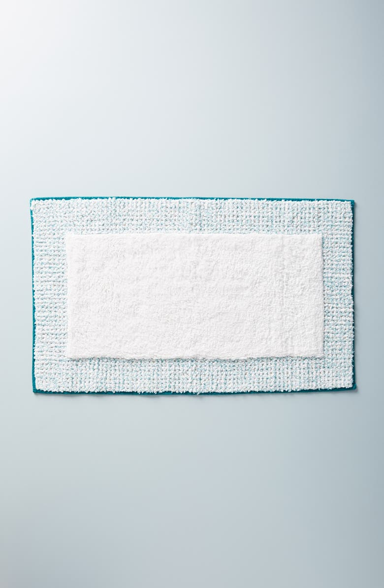 ANTHROPOLOGIE Fiona Bath Mat, Main, color, GREEN