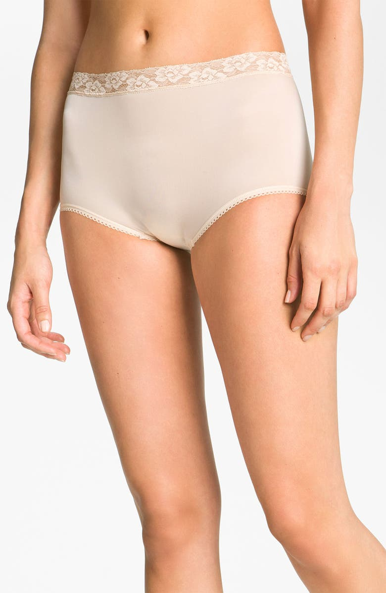 WACOAL Bodysuede Lace Waist Briefs, Main, color, NATURAL NUDE