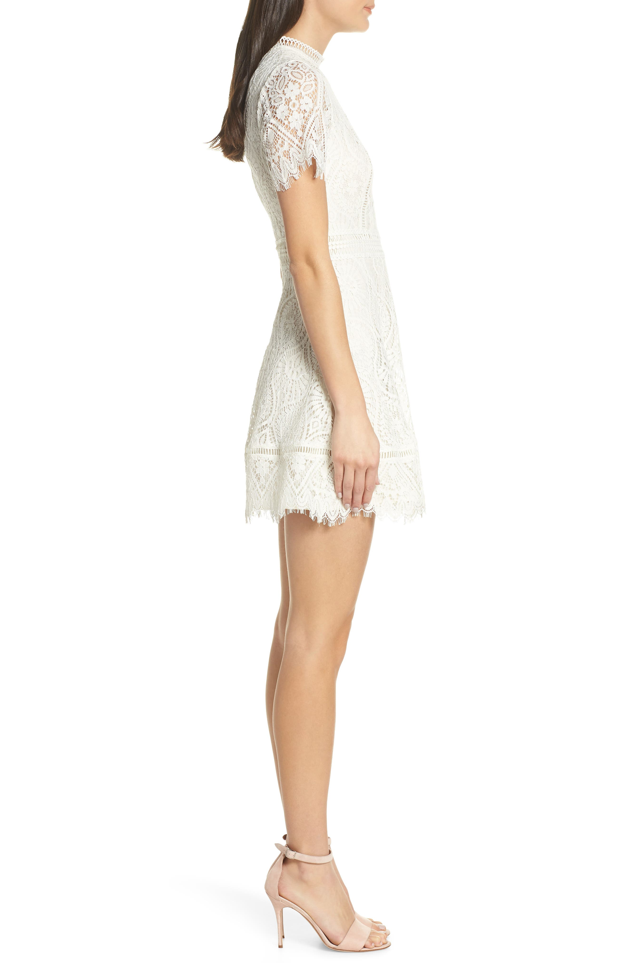 ,                             On List Short Sleeve Lace Fit & Flare Dress,                             Alternate thumbnail 4, color,                             IVORY