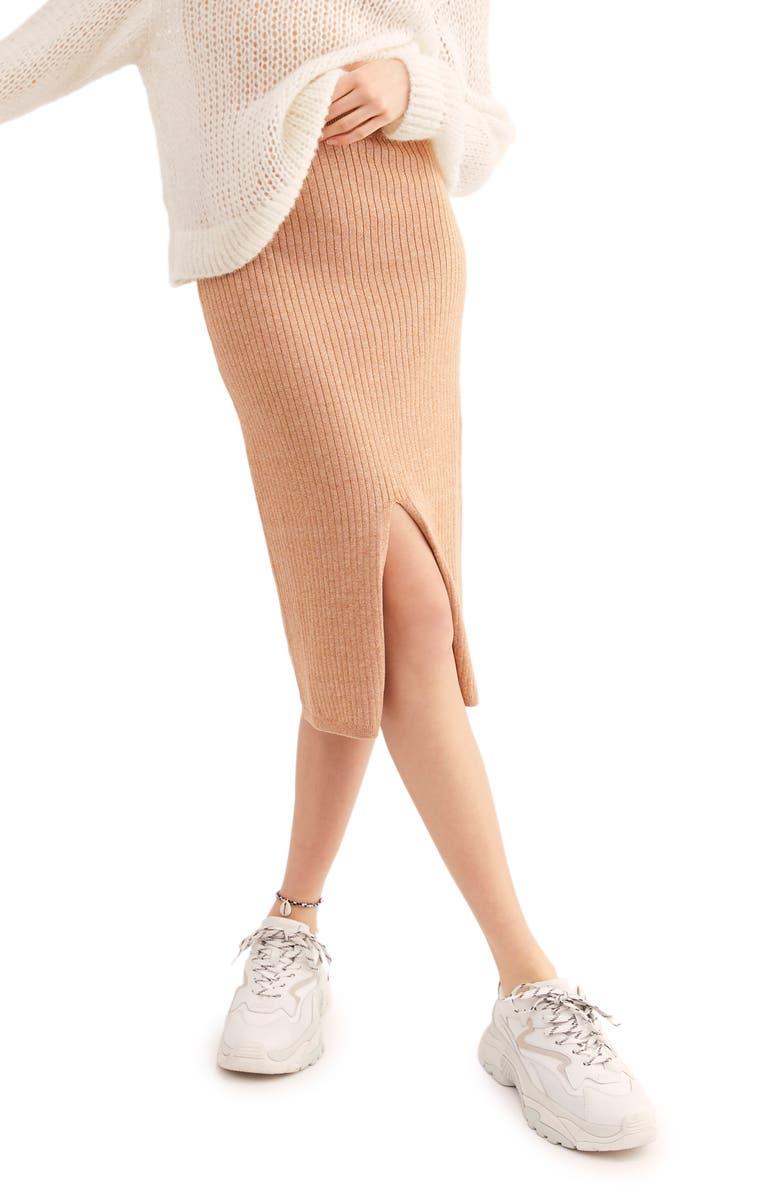 FREE PEOPLE Skyline Rib Midi Skirt, Main, color, BEIGE