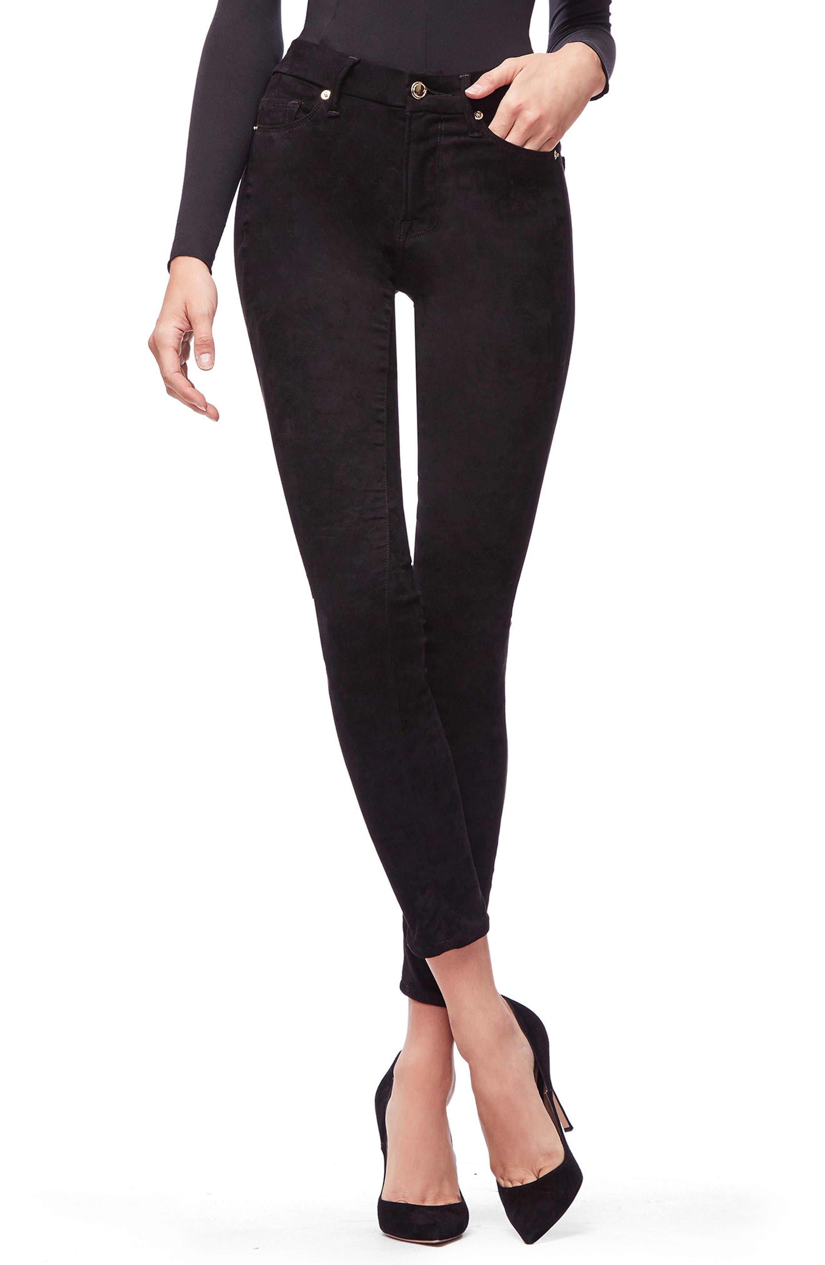 Good American Good Legs Faux Suede Pants (Black 033) (Regular & Plus Size)
