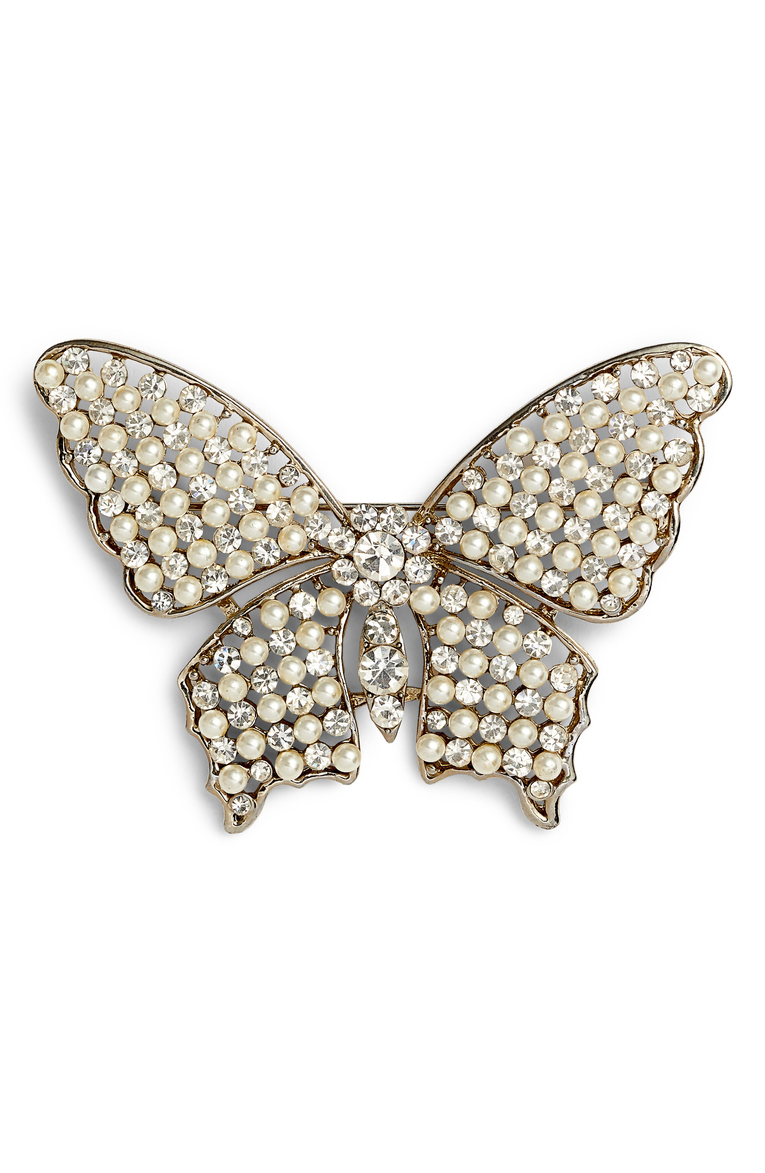 ,                             Faux Pearl & Crystal Butterfly Brooch,                             Main thumbnail 1, color,                             SILVER/ IVORY/ WHITE CRYSTAL