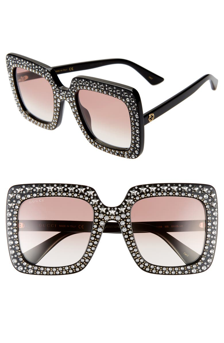 GUCCI 52mm Crystal Embellished Square Sunglasses, Main, color, SHINY BLACK W/ STAR CRYSTALS
