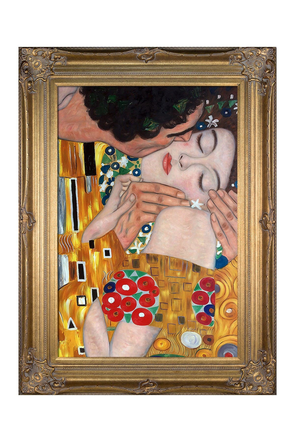 Image of Overstock Art The Kiss, Close-Up Framed Oil Reproduction of an Original Painting by Gustav Klimt