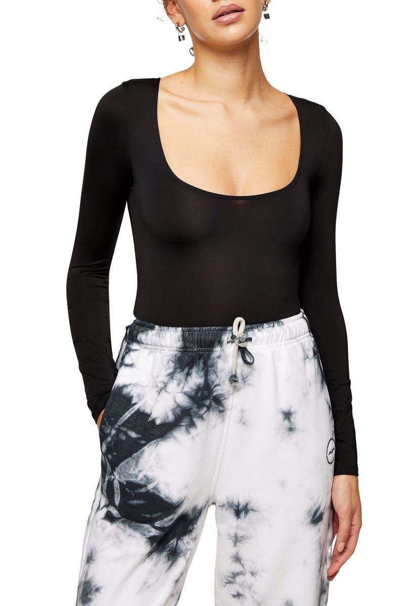 TOPSHOP Slinky Long Sleeve Bodysuit, Main, color, BLACK