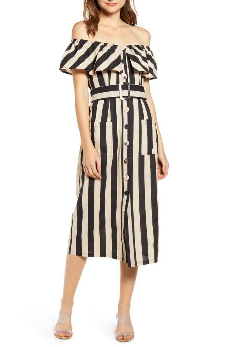 MOON RIVER Off the Shoulder Cotton & Linen Midi Dress, Main, color, BLACK/ CHAMPAGNE
