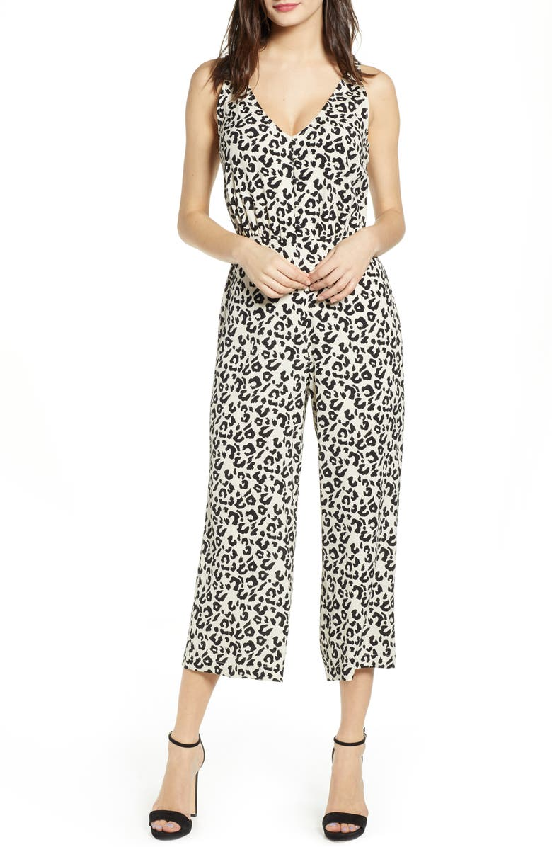 LEITH Sleeveless Button Front Jumpsuit, Main, color, 900