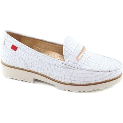 Marc Joseph New York Studio Lane Croc Embossed Loafer, White