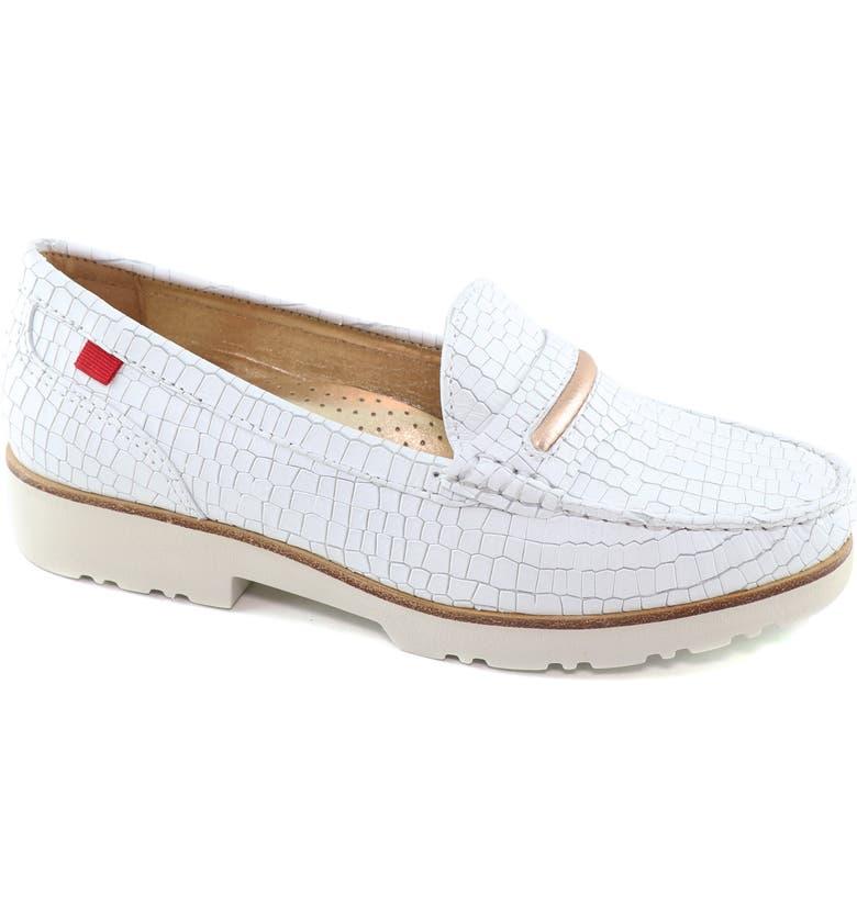 MARC JOSEPH NEW YORK Studio Lane Croc Embossed Loafer, Main, color, WHITE CROCO PRINT