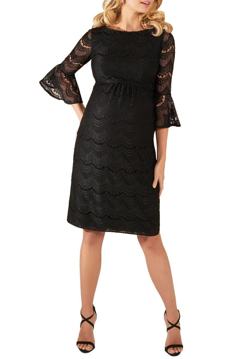 TIFFANY ROSE Jane Lace Maternity Dress, Main, color, BLACK