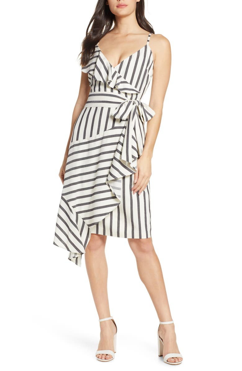 CHELSEA28 Sleeveless Stripe Ruffle Dress, Main, color, IVORY- BLACK