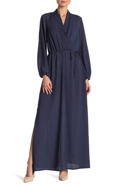 Image of SUPERFOXX Polka Dot Surplice Maxi Dress