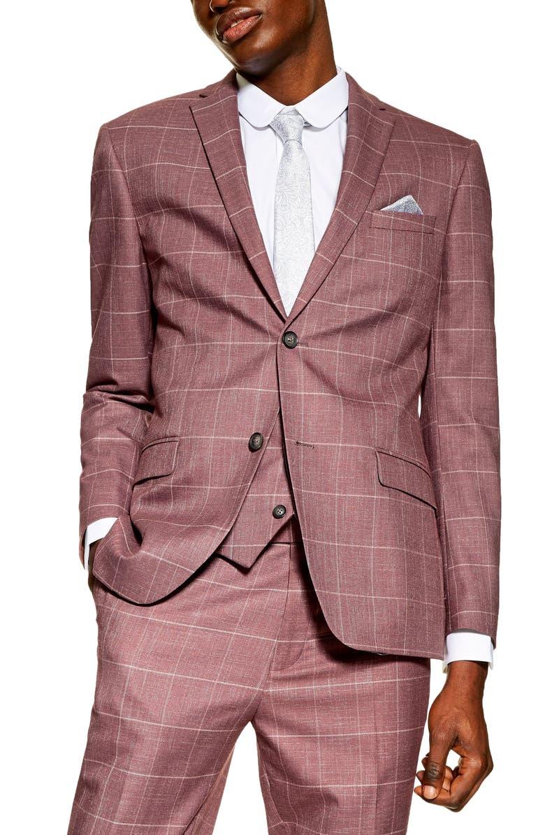 TOPMAN Slim Fit Windowpane Suit Jacket, Main, color, PINK