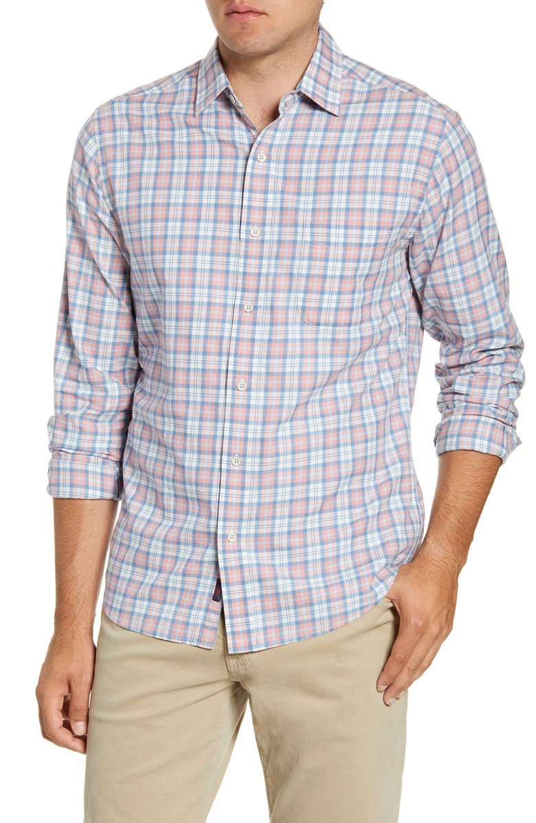 FAHERTY Ventura Regular Fit Plaid Button-Up Shirt, Main, color, ROSE INDIGO CHECK