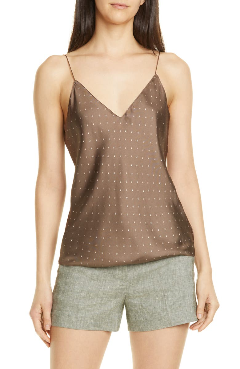 THEORY Optical Dot Silk Camisole, Main, color, 300