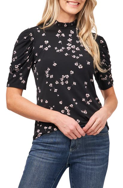 Cece Tops CASCADING FLORETS PUFF SLEEVE TOP
