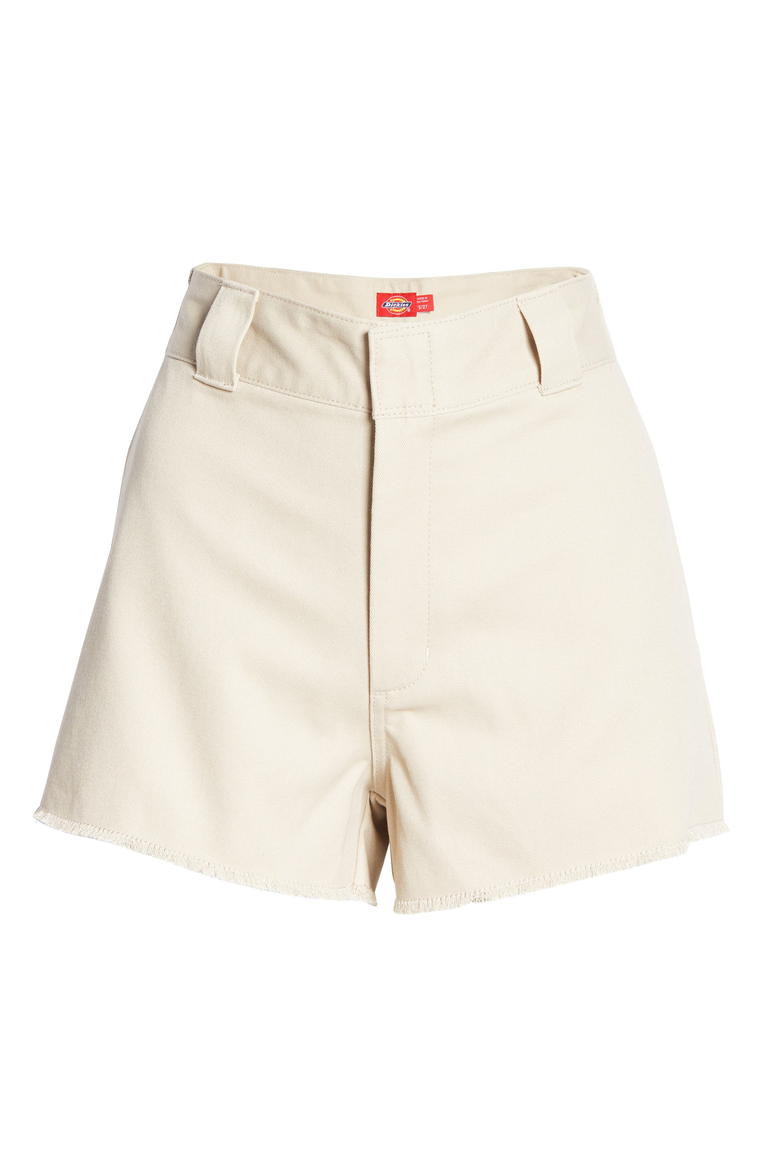 Women's Dickies Frayed Cotton Blend Worker Shorts,  15 - Brown
