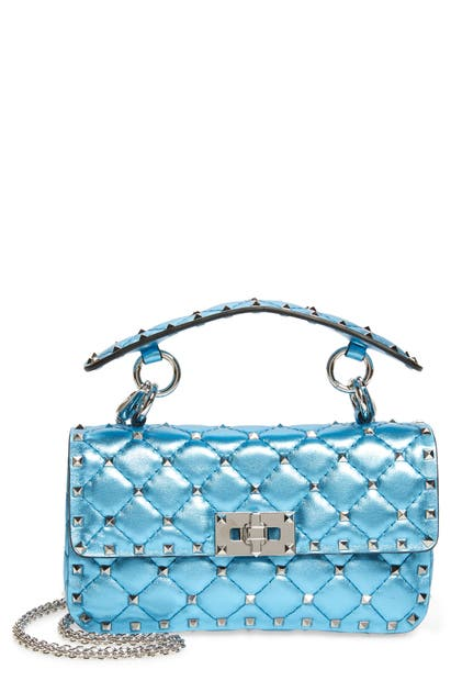 Valentino SMALL ROCKSTUD SPIKE METALLIC LEATHER SHOULDER BAG