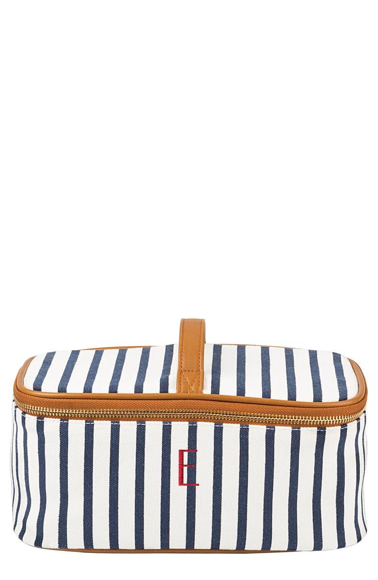 CATHY'S CONCEPTS Monogram Stripe Canvas Cosmetics Case, Main, color, BLUE E