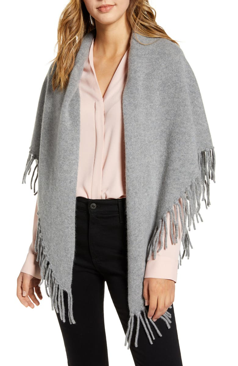 HALOGEN<SUP>®</SUP> Fringe Cashmere Blanket Scarf, Main, color, GREY MEDIUM HEATHER