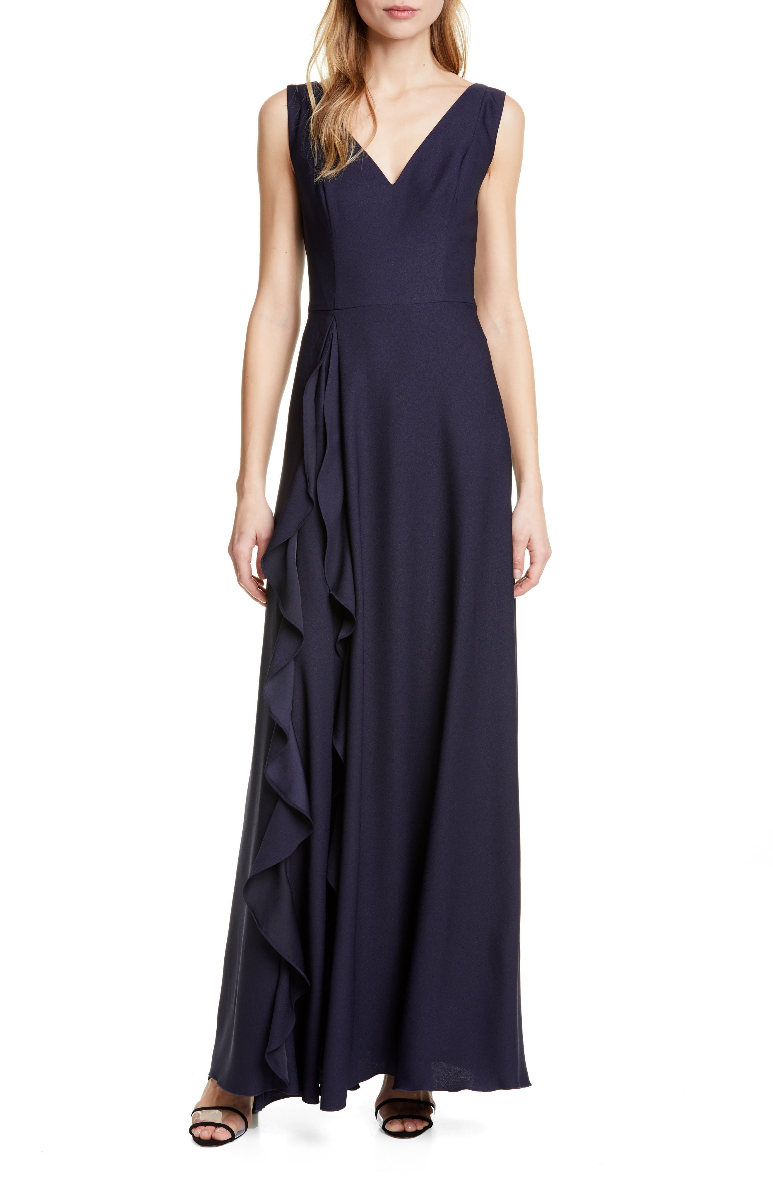Ted Baker London Azaelea V-Neck Ruffle Maxi Dress, Blue